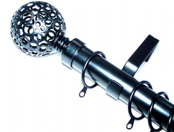 28mm Matt Black Curtain Pole System with Circle Ball Finials 1.2m 1.5m 2.4m 3m